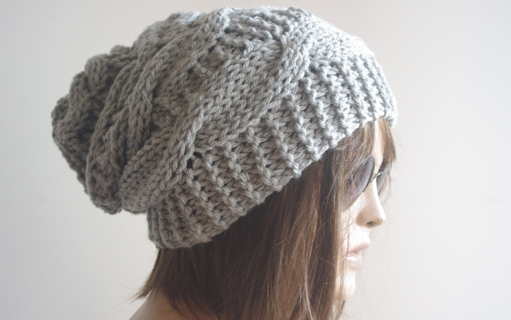 Womens fedora hat - chunky knit Slouchy GRAY Beanie Slouch Hat Fall Winter Accessories Beanie Autumn Christmas Fashion
