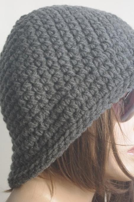Womens fedora hat - chunky knit Slouchy DARK GRAY Beanie Slouch Hat Fall Winter Accessories Beanie Autumn Christmas Fashion