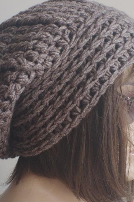 Womens hat - chunky knit Slouchy BROWN MELANGEBeanie Slouch Hat Fall Winter Accessories Beanie Autumn Christmas Fashion
