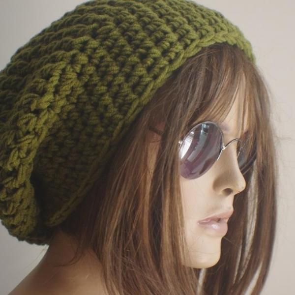 Womens hat - chunky knit Slouchy GREEN Beanie Slouch Hat Fall Winter Accessories Beanie Autumn Christmas Fashion