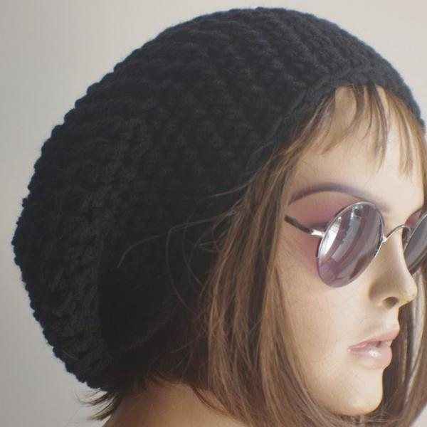 Womens hat - chunky knit Slouchy BLACK Beanie Slouch Hat Fall Winter Accessories Beanie Autumn Christmas Fashion