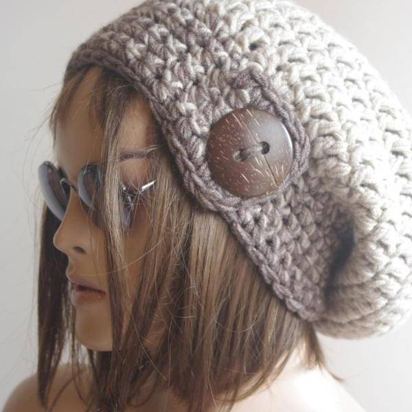 Womens hat - chunky knit Slouchy BROWN MELANGE Beanie Slouch Hat Fall Winter Accessories Beanie Autumn Christmas Fashion
