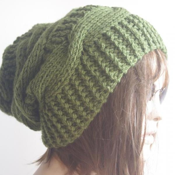 Womens fedora hat - chunky knit Slouchy GREEN Beanie Slouch Hat Fall Winter Accessories Beanie Autumn Christmas Fashion