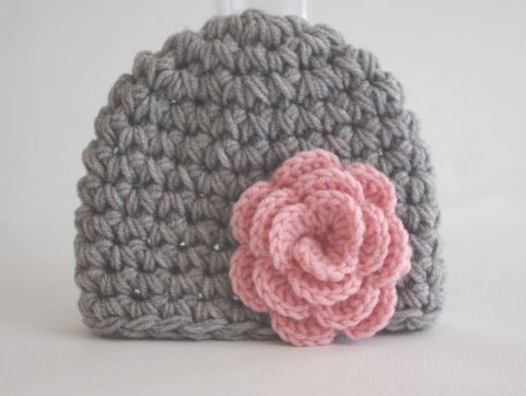 Crochet Baby Hat Girl Gray With Pink Flower Hat Ready